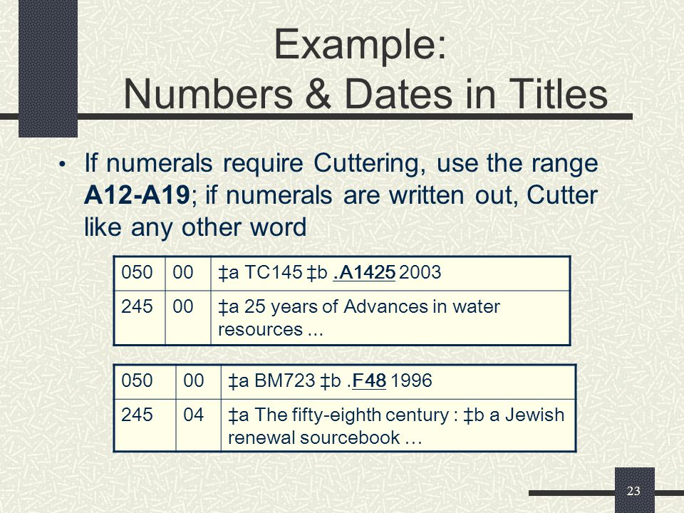 Example: Numbers & Dates in Titles