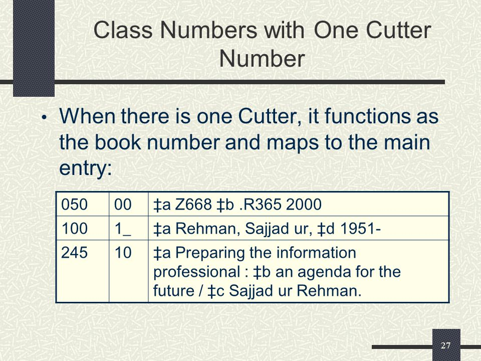 Class Numbers with One Cutter Number