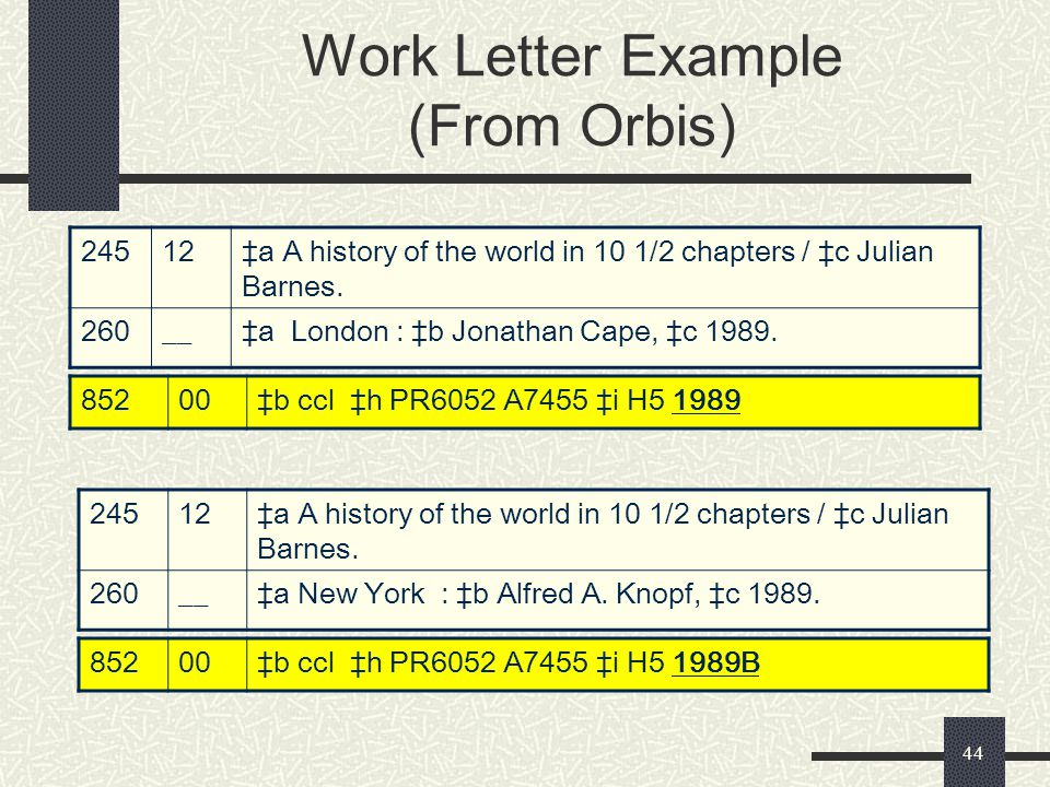 Work Letter Example (From Orbis)