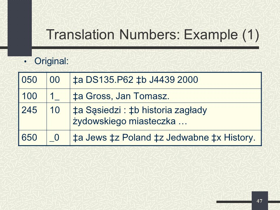 Translation Numbers: Example (1)