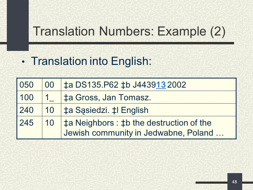Translation Numbers: Example (2)