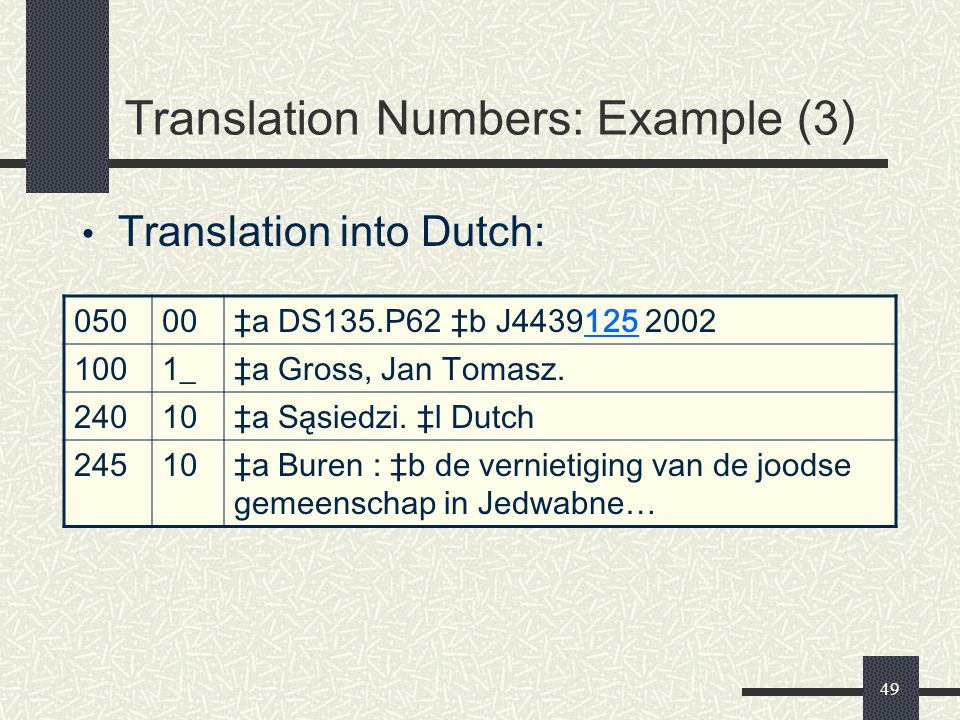 Translation Numbers: Example (3)