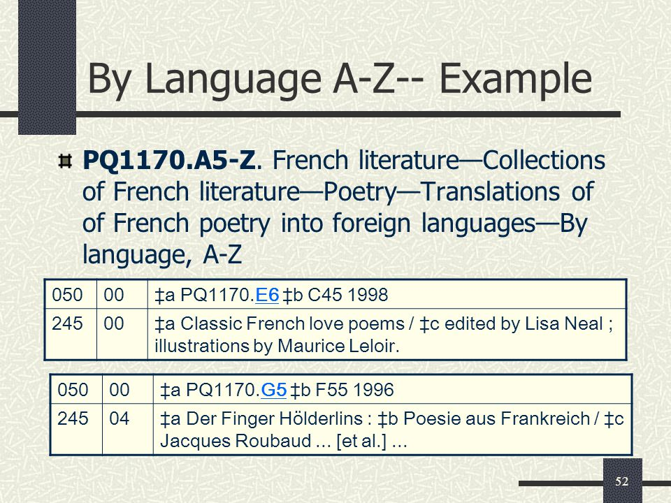 By Language A-Z-- Example