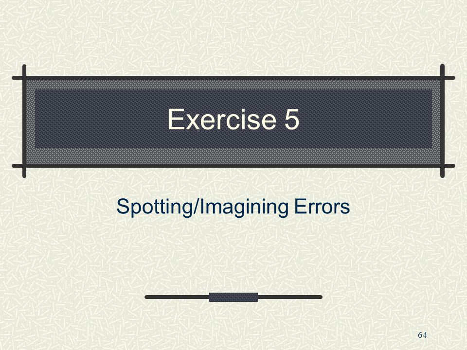 Spotting/Imagining Errors