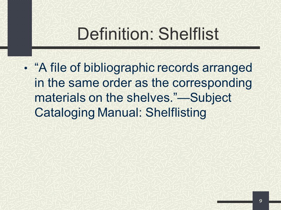 Definition: Shelflist