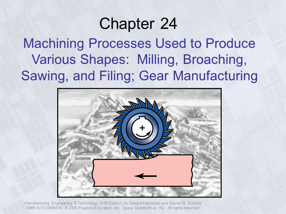 Chapter 24 Machining Processes Used to Produce Various Shapes: Milling, Broaching, Sawing, and Filing; Gear Manufacturing.
