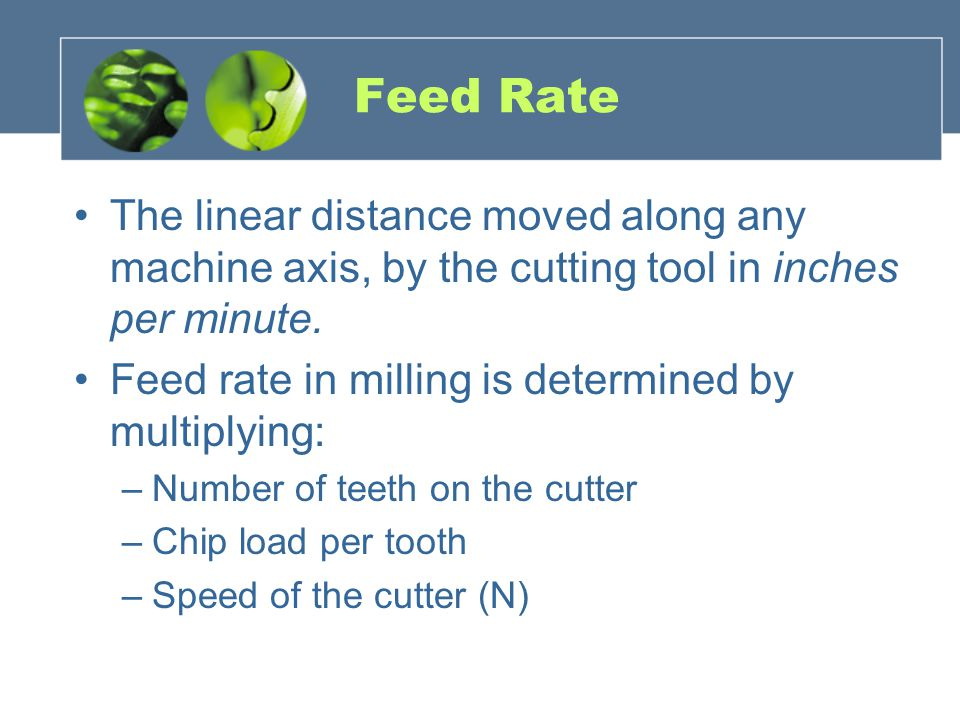 Feed Rate The linear distance moved along any machine axis, by the cutting tool in inches per minute.
