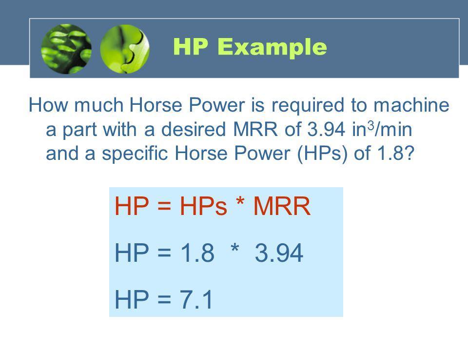 HP = HPs * MRR HP = 1.8 * 3.94 HP = 7.1 HP Example