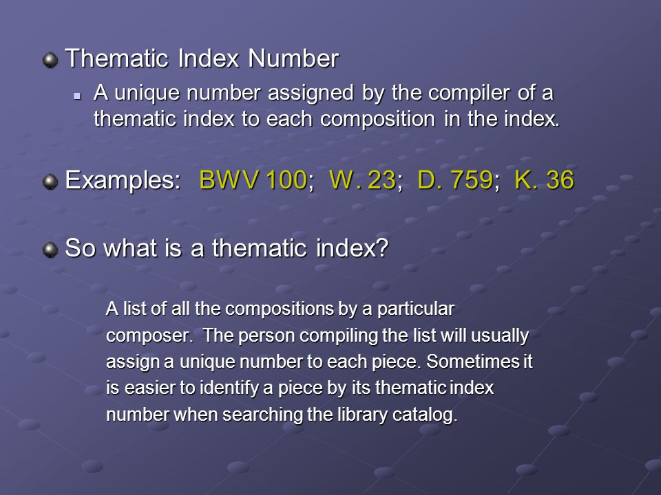 So what is a thematic index