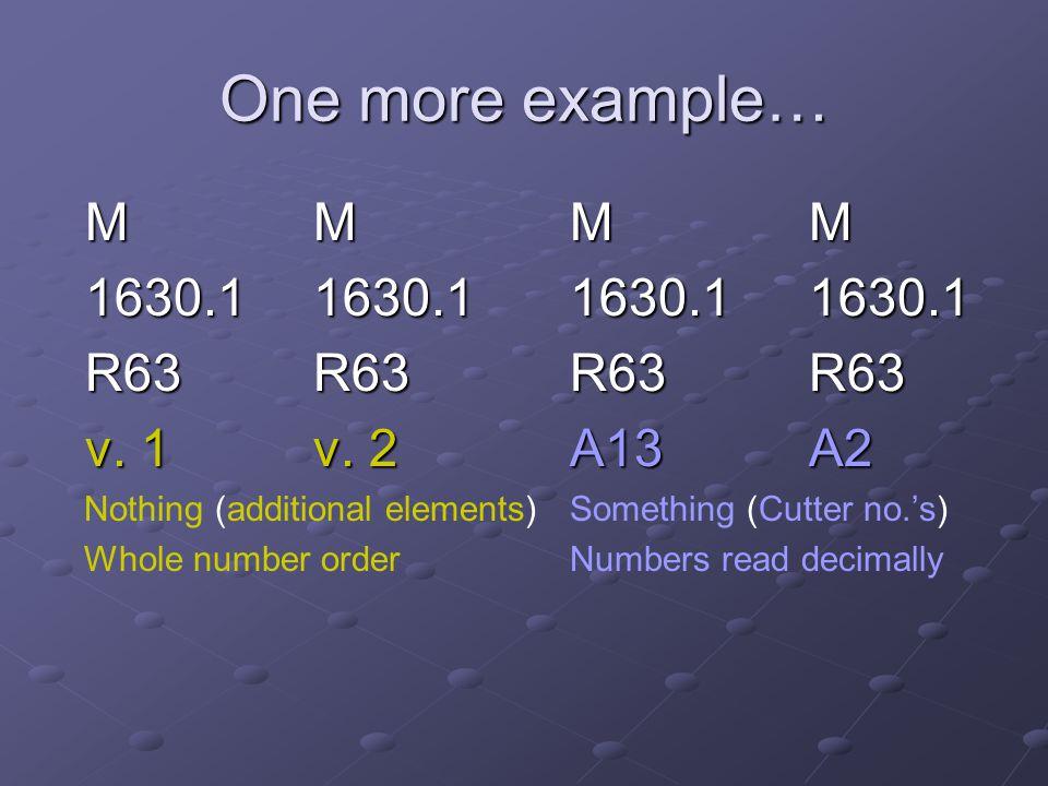 One more example… M M M M 1630.1 1630.1 1630.1 1630.1 R63 R63 R63 R63