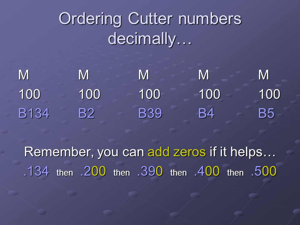 Ordering Cutter numbers decimally…