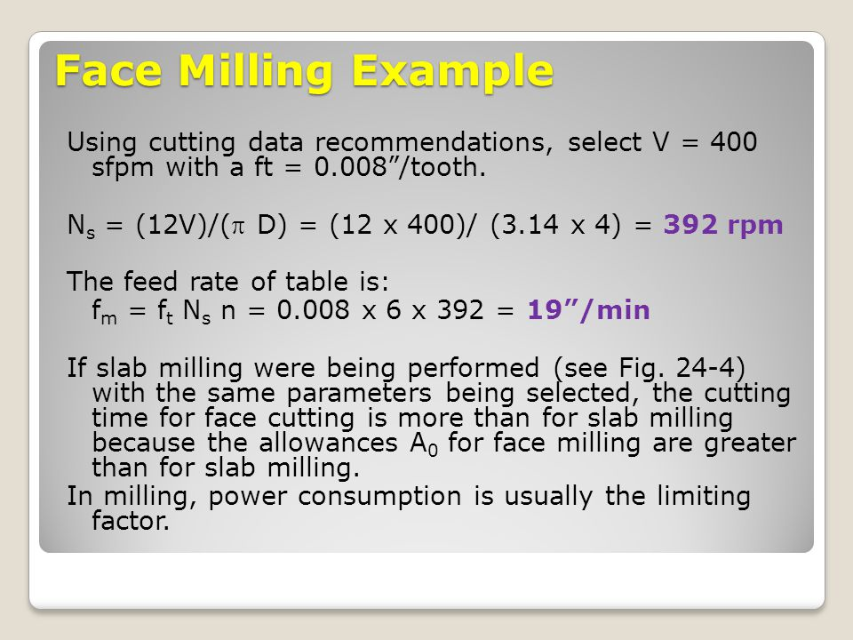 Face Milling Example Using cutting data recommendations, select V = 400 sfpm with a ft = 0.008 /tooth.