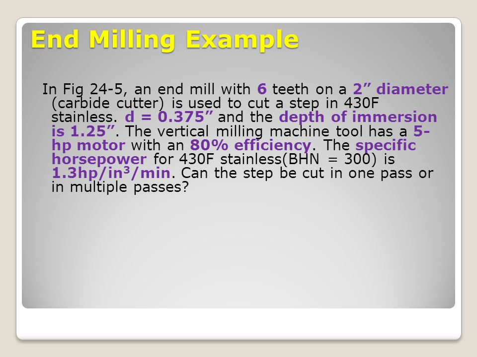 End Milling Example
