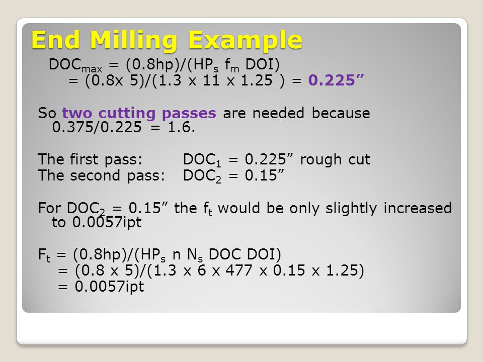 End Milling Example DOCmax = (0.8hp)/(HPs fm DOI)