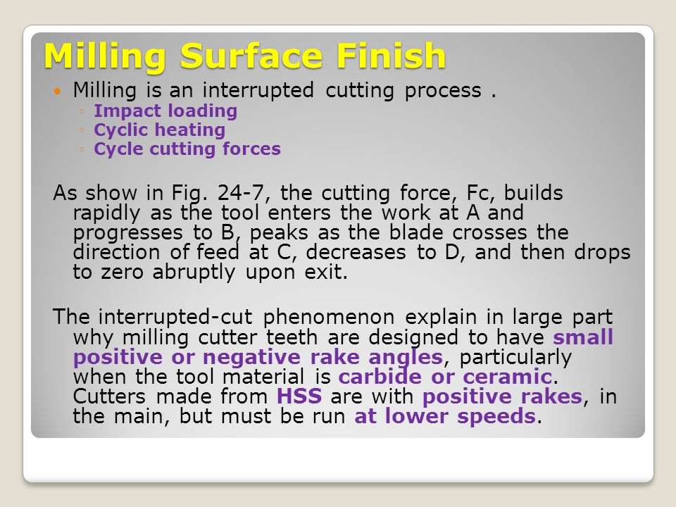Milling Surface Finish