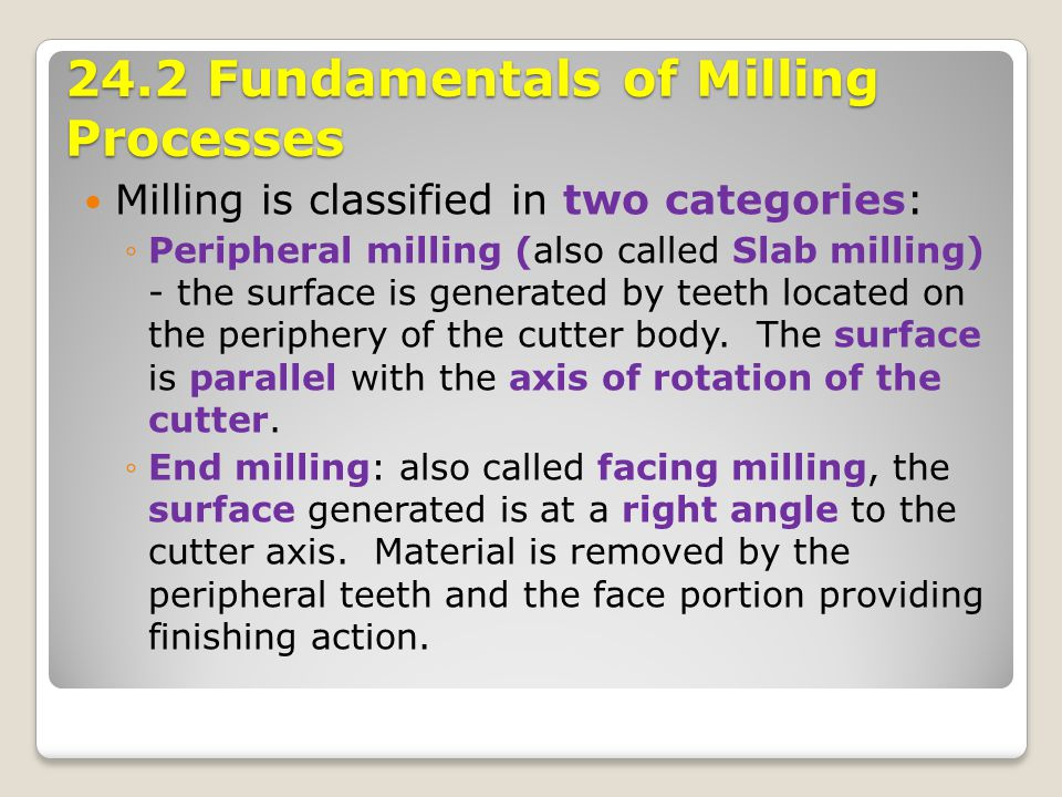 24.2 Fundamentals of Milling Processes