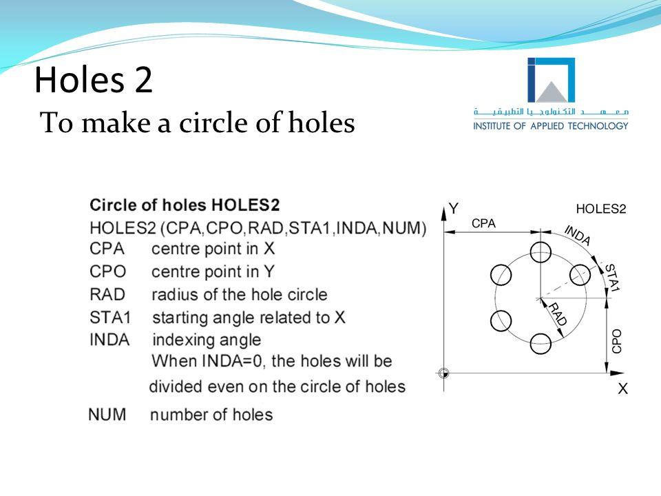 Holes 2 To make a circle of holes