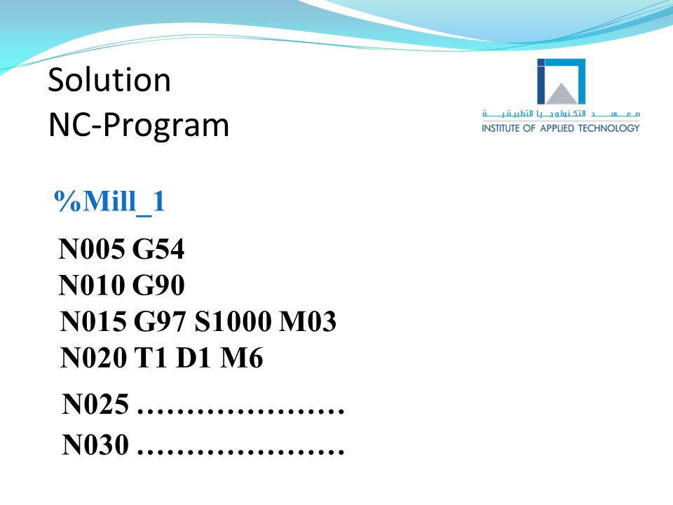 Solution NC-Program %Mill_1 N005 G54 N010 G90 N015 G97 S1000 M03