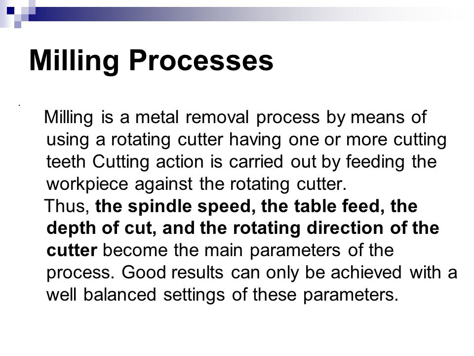 Milling Processes .