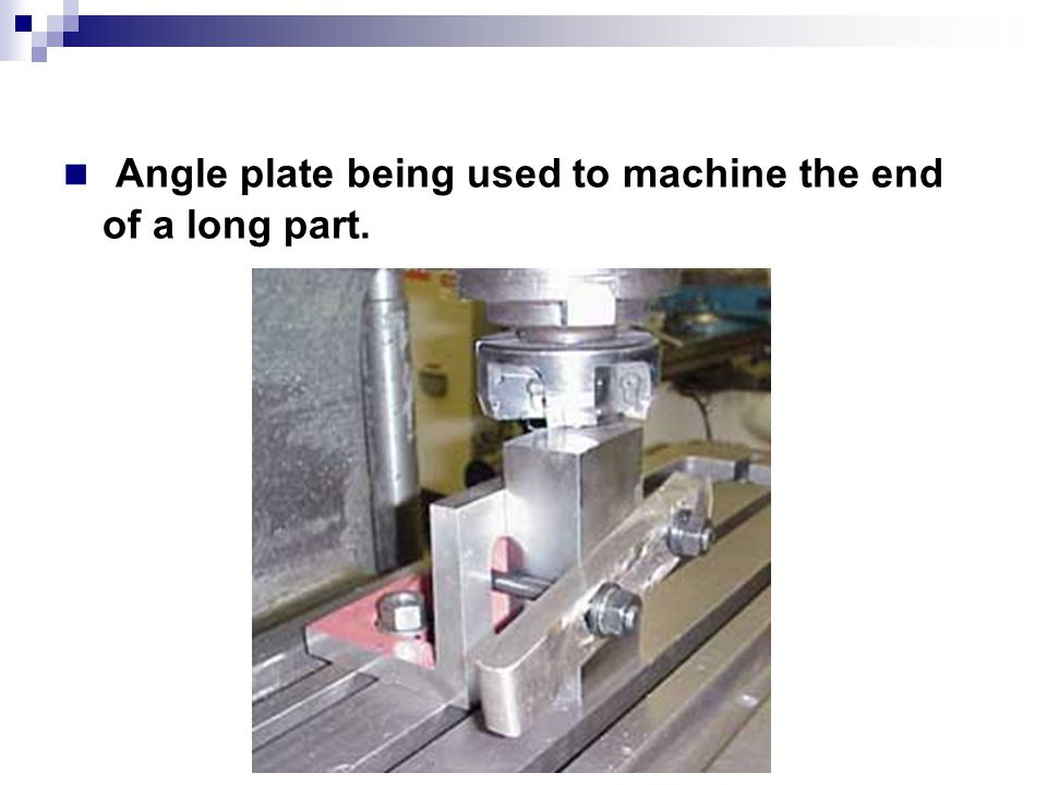 Angle plate being used to machine the end of a long part.