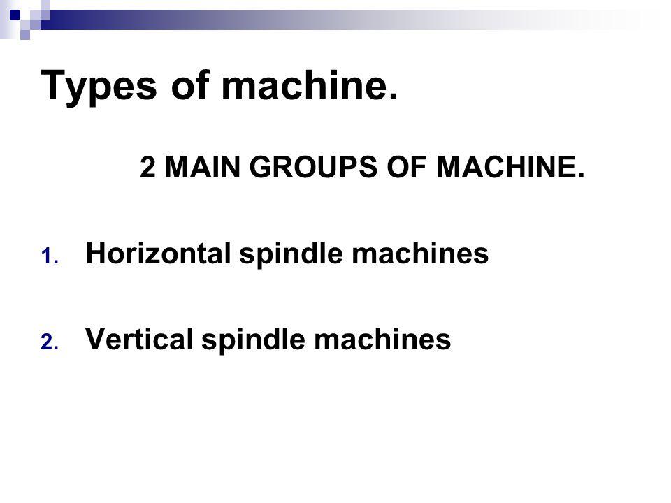 Types of machine. 2 MAIN GROUPS OF MACHINE.