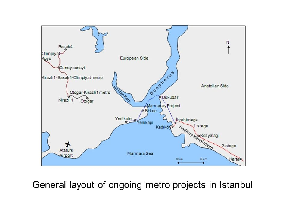 General layout of ongoing metro projects in Istanbul