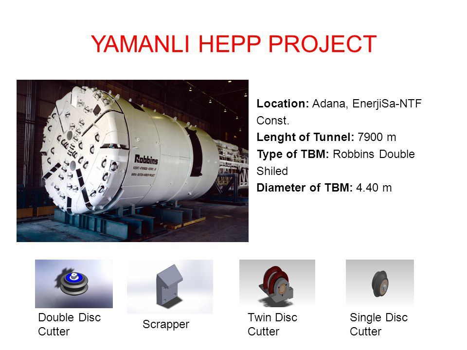 YAMANLI HEPP PROJECT Location: Adana, EnerjiSa-NTF Const. Lenght of Tunnel: 7900 m Type of TBM: Robbins Double Shiled Diameter of TBM: 4.40 m