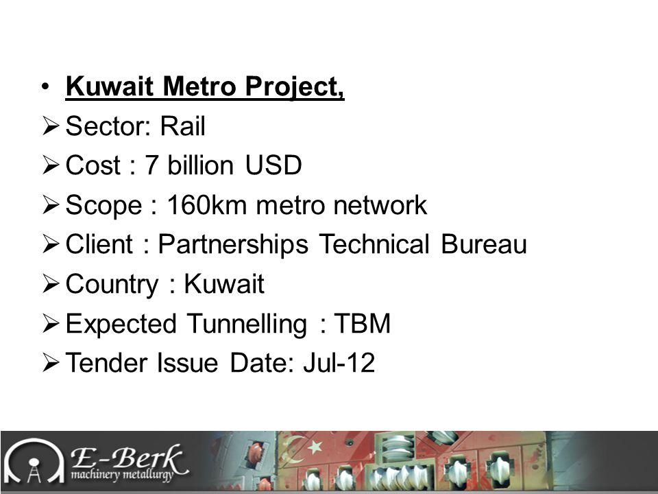 Kuwait Metro Project, Sector: Rail. Cost : 7 billion USD. Scope : 160km metro network. Client : Partnerships Technical Bureau.