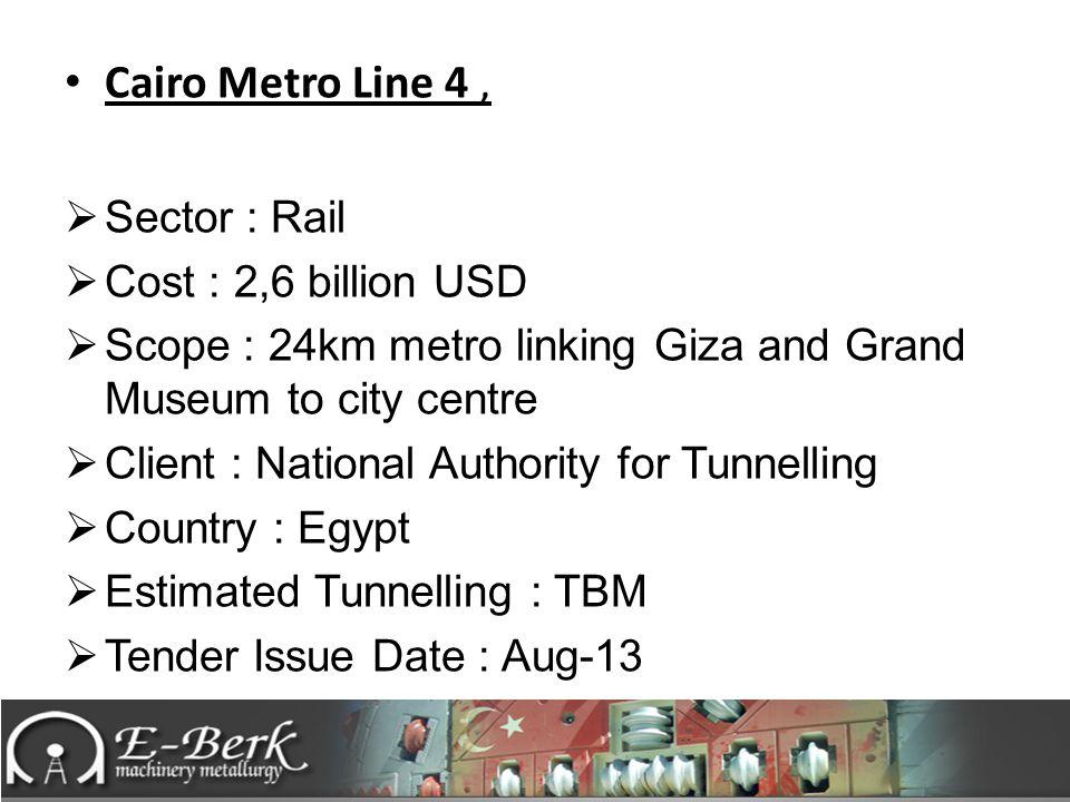Cairo Metro Line 4 , Sector : Rail Cost : 2,6 billion USD