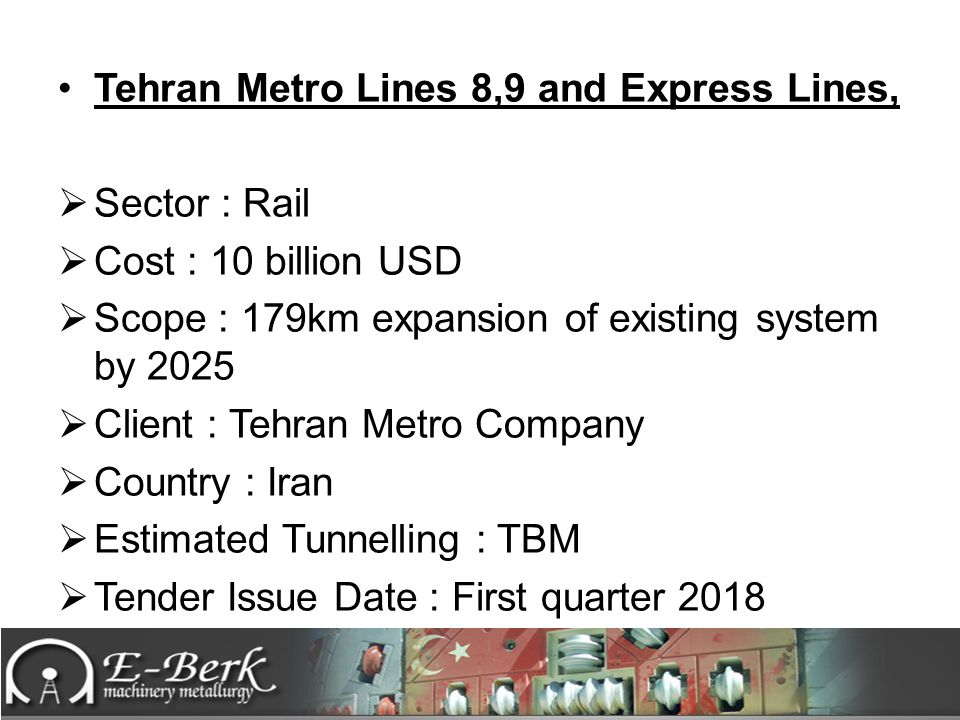 Tehran Metro Lines 8,9 and Express Lines,