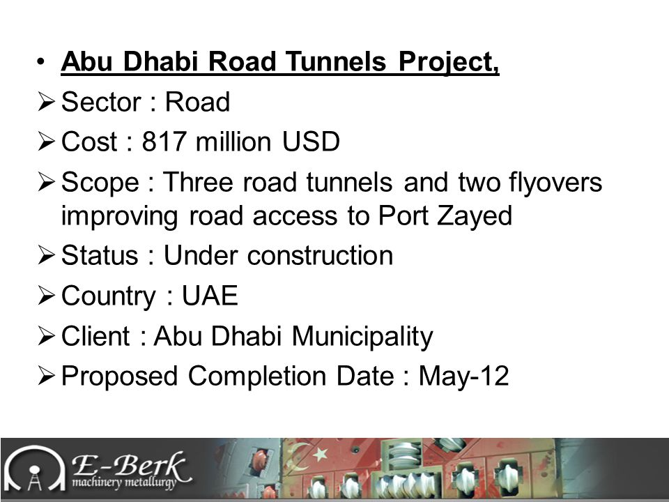Abu Dhabi Road Tunnels Project,