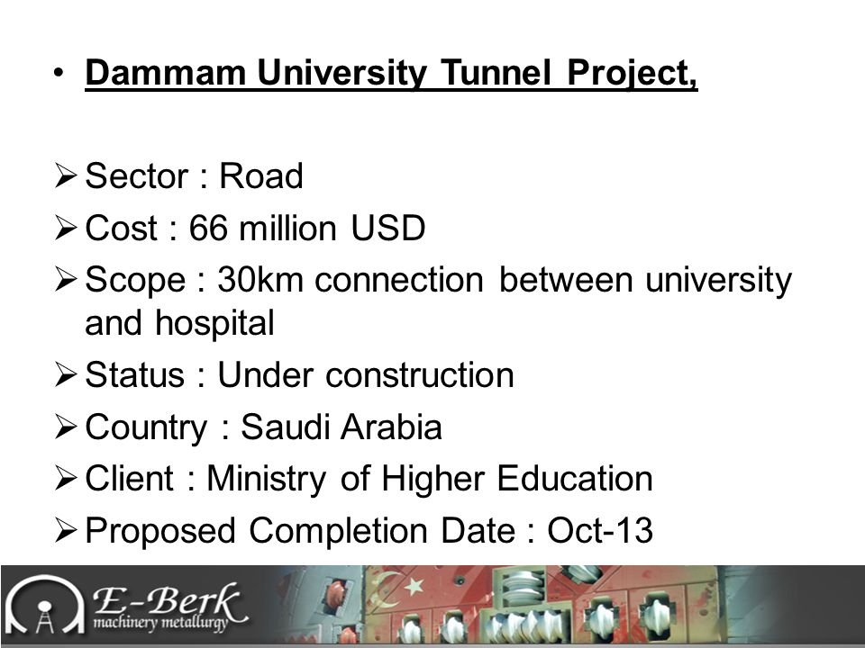 Dammam University Tunnel Project,