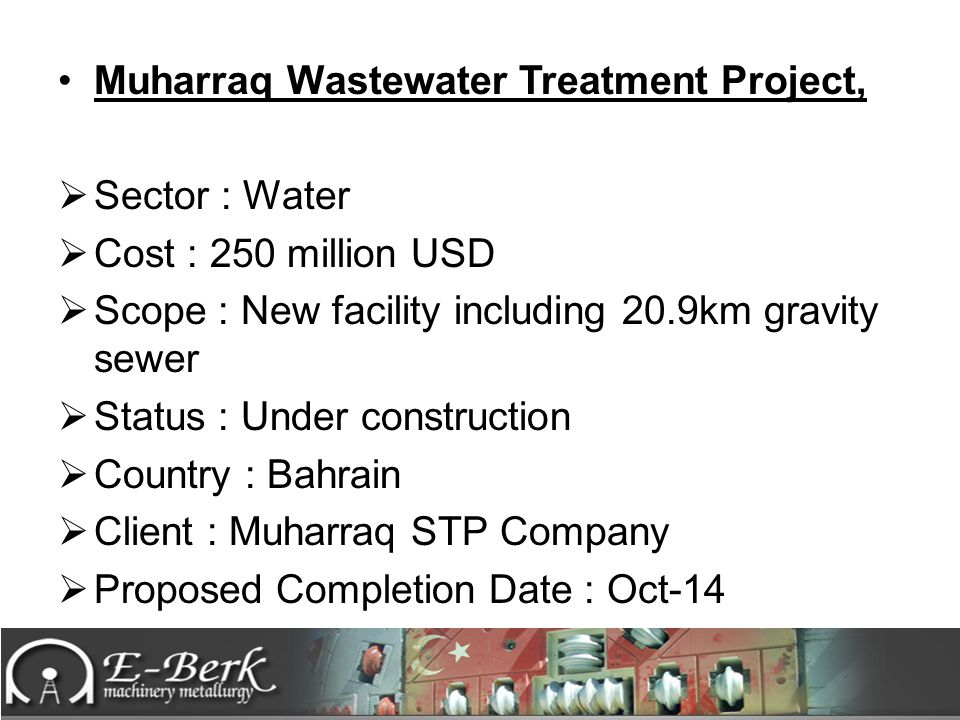 Muharraq Wastewater Treatment Project,