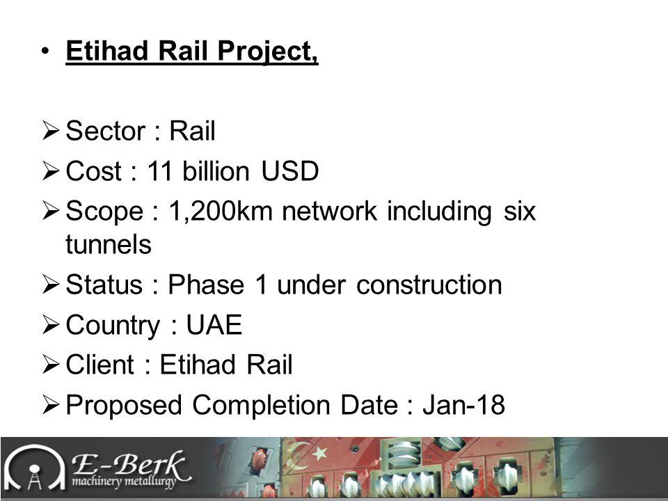 Etihad Rail Project, Sector : Rail. Cost : 11 billion USD. Scope : 1,200km network including six tunnels.