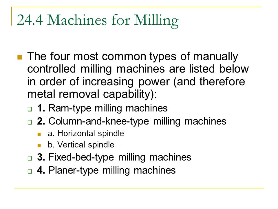 24.4 Machines for Milling