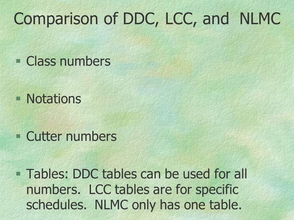 Comparison of DDC, LCC, and NLMC