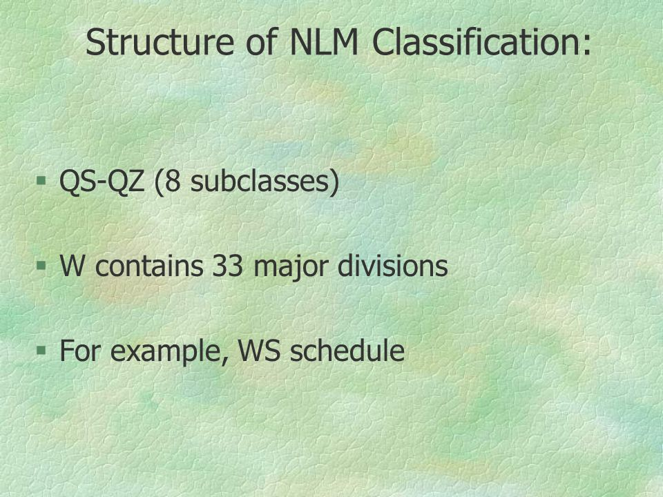 Structure of NLM Classification: