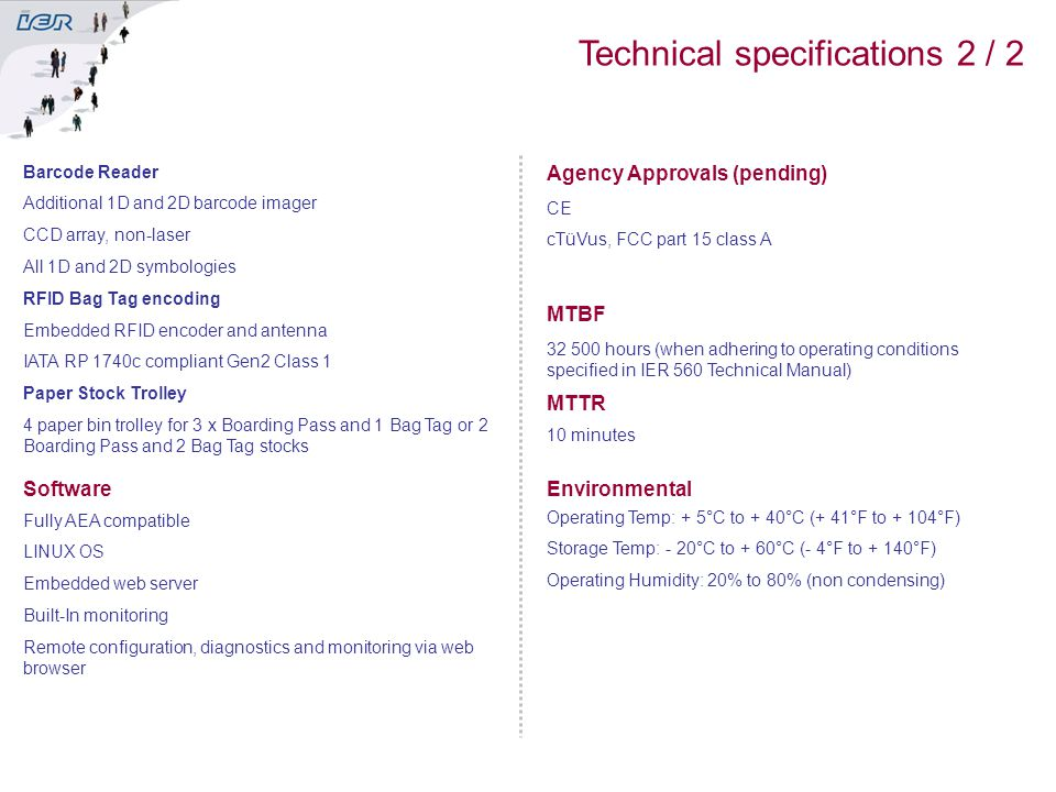 Technical specifications 2 / 2