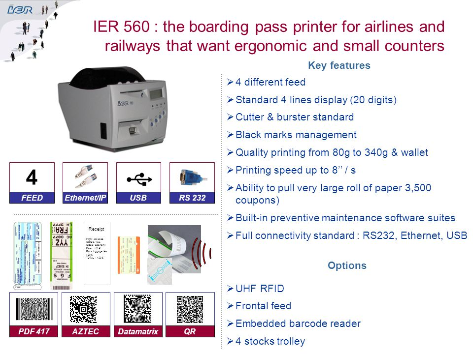 IER 560 : the boarding pass printer for airlines and railways that want ergonomic and small counters