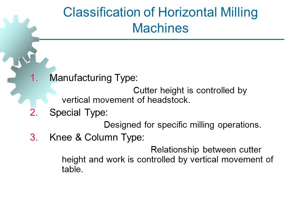 Classification of Horizontal Milling Machines