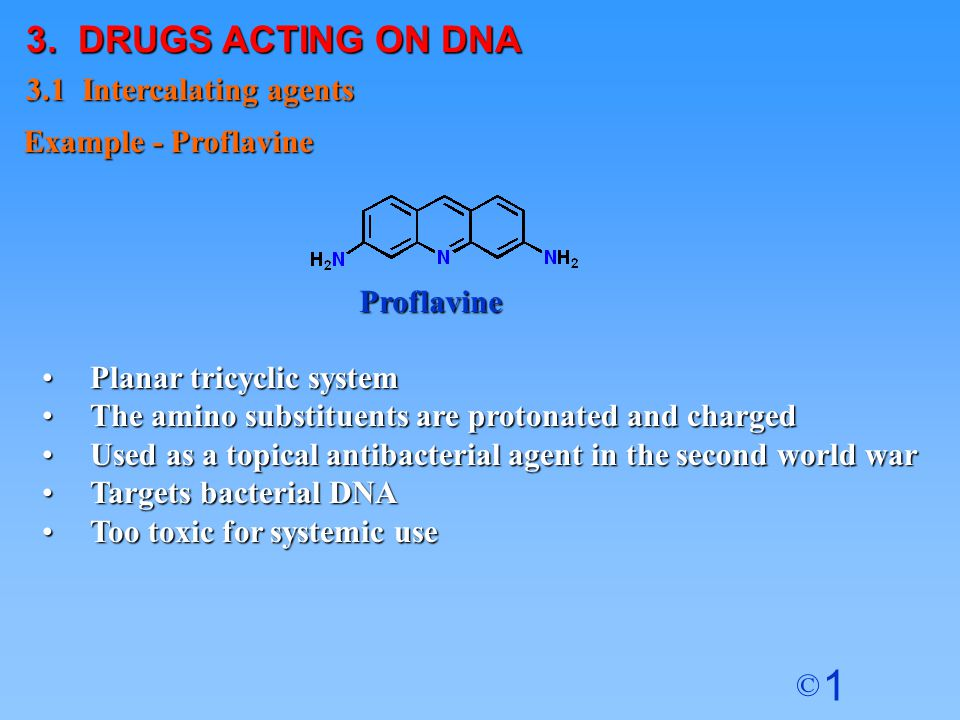 3. DRUGS ACTING ON DNA 3.1 Intercalating agents Example - Proflavine