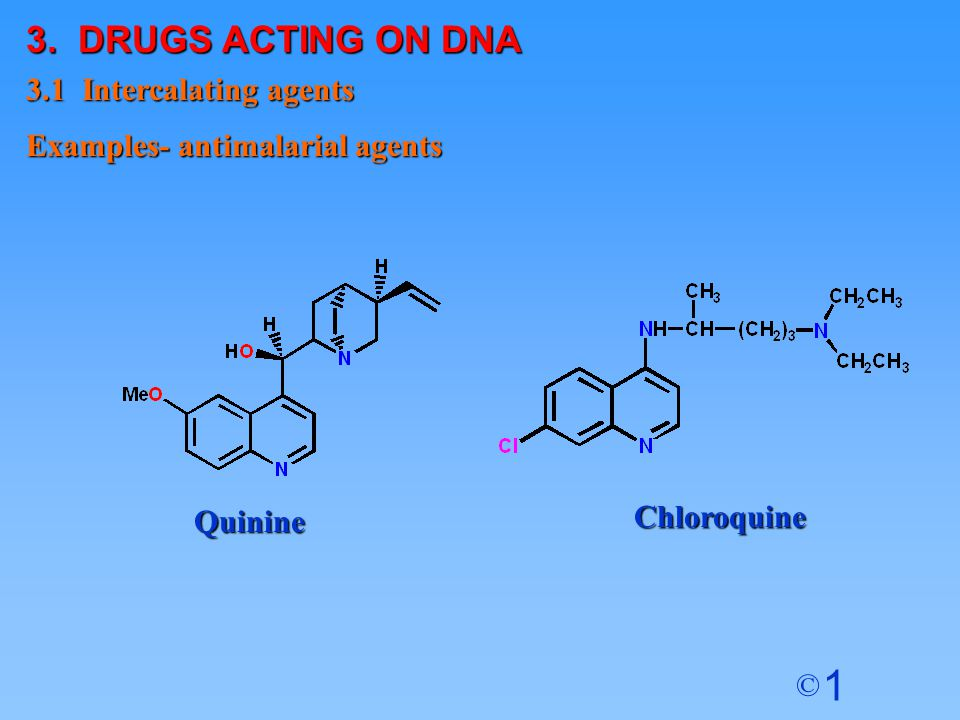 3. DRUGS ACTING ON DNA 3.1 Intercalating agents