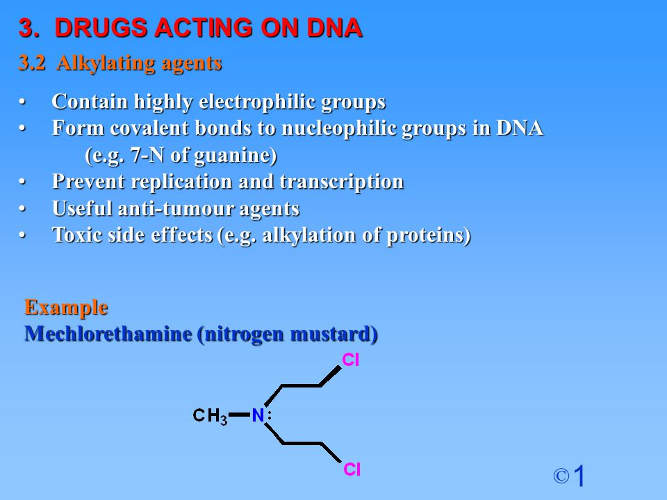 3. DRUGS ACTING ON DNA 3.2 Alkylating agents