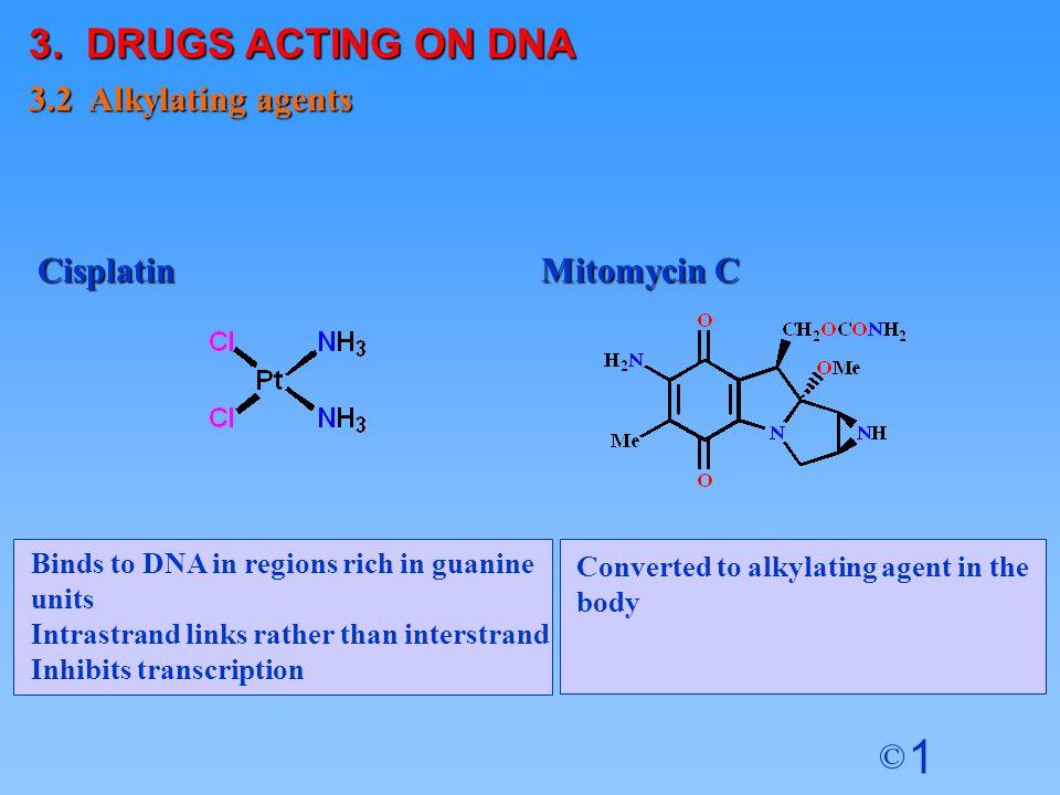 3. DRUGS ACTING ON DNA 3.2 Alkylating agents Cisplatin Mitomycin C