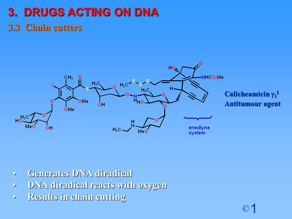 3. DRUGS ACTING ON DNA 3.3 Chain cutters Generates DNA diradical