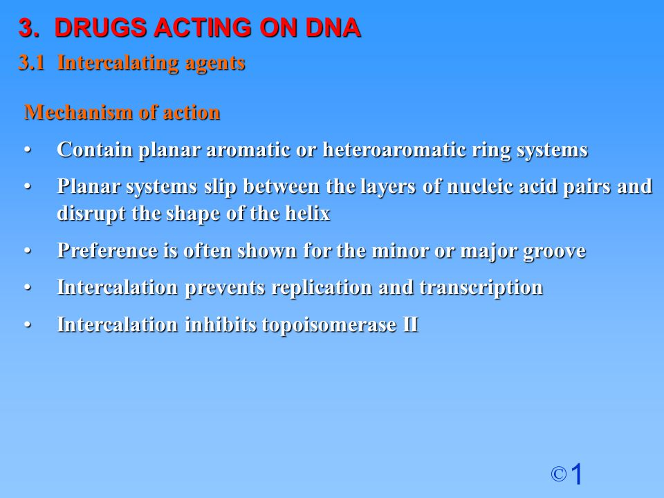 3. DRUGS ACTING ON DNA 3.1 Intercalating agents Mechanism of action