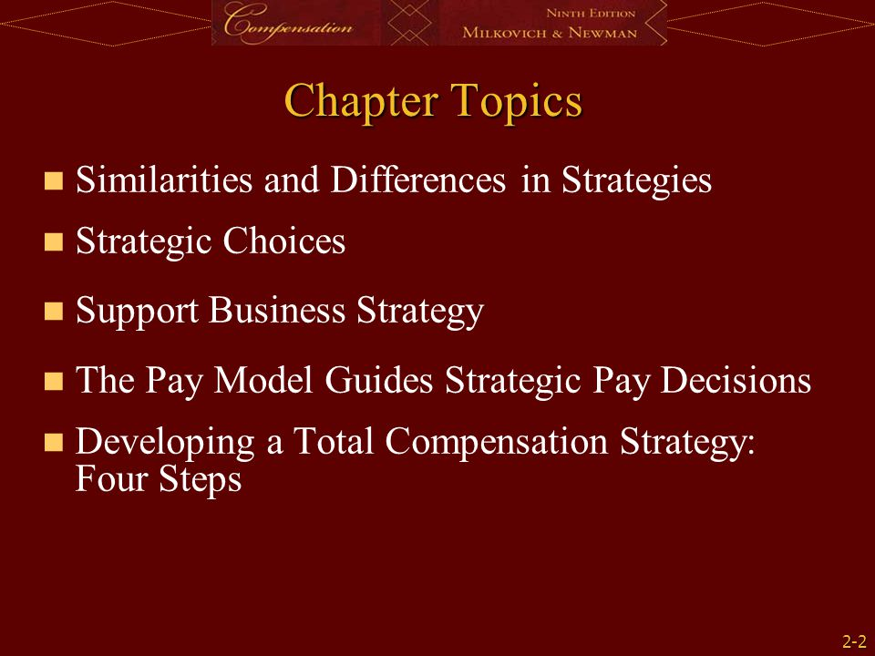 Chapter Topics Similarities and Differences in Strategies