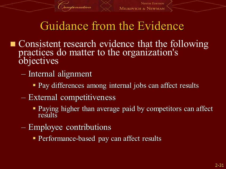 Guidance from the Evidence
