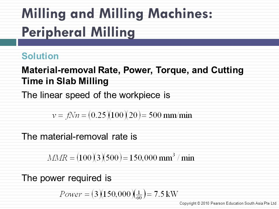 Milling and Milling Machines: Peripheral Milling