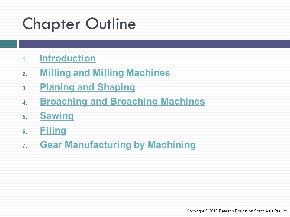 Chapter Outline Introduction Milling and Milling Machines